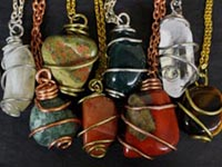 necklaces made from colorful tumbled gemstones, casual jewelry, hand wired pendants by Karen Bergeron